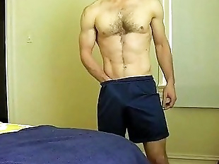 toned slightly hairy chest guy strip-jo-cum on..