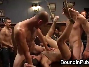 Bound gay groped and gangbang fucked in crowded..